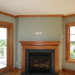 Fireplace with wood mantle