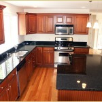 Kitchen with dark counter tops